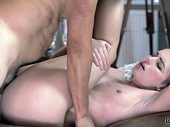 Kittina Ivory and her older boyfriend Fernando finally got a chance to have a small vacation in mountains where they rented a cozy house. Champagne, soft light and passion did their job and the sex was wonderful! She missed his old, but still hard dick so much! She wanted to give him a hot long and deep throat blowjob. And the old man dick was totally ready to penetrate that small pussy! He made Kitty moan from his lips licking her sweet pussy...
