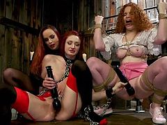 Get ready to have your kinkiest fantasies realized and then some! Three redheads are down in the dungeon with ropes, toys, and other things to please and torture each other. Right now, Violet is in charge of this little group and she's enjoying it.