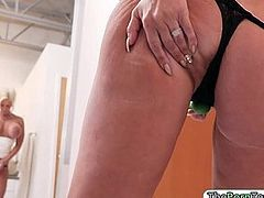 Massive tits milf make out with her maid