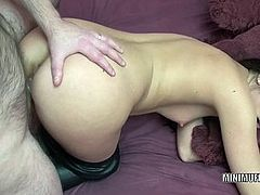 Tiny brunette Gianna Love is bouncing on a stiff cock