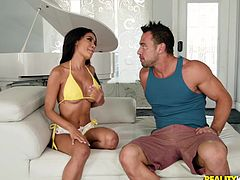 It was hard not to notice this Latina beauty on the beach. Shay Evans looked so sexy and attractive that I could not withstand, and invited her to join me. Watch her sucking my dick and balls with great passion. Have fun and enjoy the spicy bits of scandal!