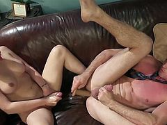 Pierce Paris was completely fascinated by this attractive sexy beauty and it's hard even to imagine his surprise, when he saw her rock hard dick... Well, there's no turning back and it's probably time for him to try her tranny cock. Hot stuff!