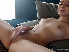 Amazing Brunette Rubs Her Tight Cunt For You