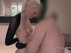 Slim tied up blonde anal fucked in casting