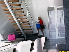 This horny pervert wants to fuck the blonde busty milf, Katie Morgan, and to get her wet pussy, he watches her to the house, and gets inside. Here he does not lose time for nothing and immediately gets down to business, and licks her bald cunt carefully... Join to see the rest!