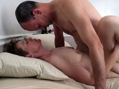 She masturbates with a vibrator while fucked