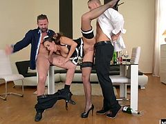 To show the French maid whos boss they take turns filling her every hole with their cocks. After a pussy and ass filling double penetration, Mia swallows their cum so it doesnt make another mess for her to clean up.