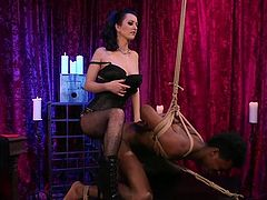 Cherry always enjoys taking a cock inside her, but she has no trouble giving it either. In a twist, Luis is the one tied up and bent over. He really feels it once she gets that strap-on right and sticks it right in his ass. She goes deep on him as well.