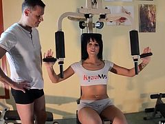 She decided to burn some extra calories off by fucking her trainer. He licks all the taste off her sweaty pussy before flipping her over to taste her ass and slam his cock into it This is why you wipe down the equipment before using it at the gym people.
