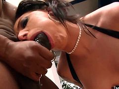 She loves a nice big cock down her throat and her pussy is dripping waiting for him to enter. She get impaled on his BBC and rammed hard until she opens up her mouth and takes a shot of semen down the hatch.