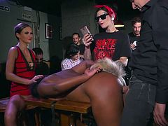 Watch and enjoy this hot interracial sex session in a public bar. Stunning ebony babe, Sunny Star, was bound, fucked, & humiliated, while people around were enjoying the spectacle and filming everything happening on their smartphones. Hot stuff! Join!