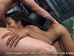 Brunette asian Lyla Lei gets her mouth fucked by fat meat shaft and eating sperm
