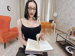 Hot busty tranny teacher fuck with her student