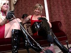 Slave Cums on Boots and Licks Sperm