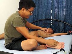 If you liked the previous two videos with Lance, youre going to go nuts over this one. Lances feet are so soft and smooth and ticklish and they are thoroughly tickled silly. Ricky makes Lance hysterical with his dancing fingernails all over his feet and body. Then Mike steps in for some tickling fun too. DONT MISS THIS ONE BEST YET