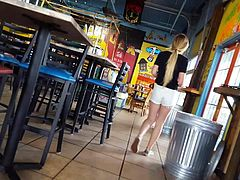 Candid voyeur hot blonde teen waitress