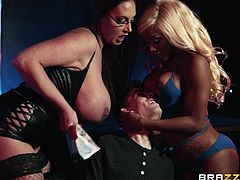 These two busty and lovely strippers work on his cock in the club. They suck him off until he is ready to blow his huge load, but not yet! Emma sits on his face and makes hime eat out her juicy wet vagina.