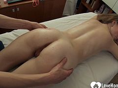 After massaging her body, this dude decided to pleasure her tight love tunnel as well.