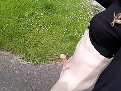 Crossdresser themidnightminx public flashing at the church