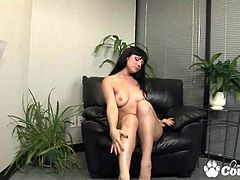 Natural tiny tits cougar Ava Rose rubbing and masturbating with giant vibrator on black sofa