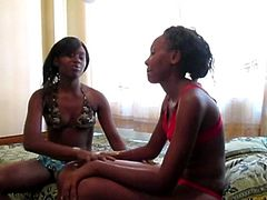 An Amateur African lesbian strapon party is going down in a cheap hotel between two super pretty ebony pussy eaters armed with a big strapon! See it in HD!