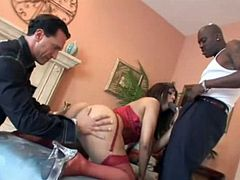 Mya in rare MMF interracial threesome