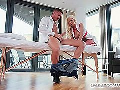Golden-Haired nurse with massive melons becky sins bonks cheeky patient