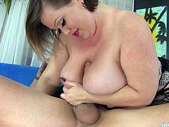 Sexy plumper gives a wonderful blowjob hand job and tits fuck Then takes the dick in her pussy and get fucked deep and good in many positions The guy spills cum over her tits