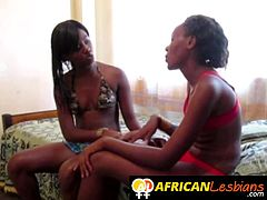 Slim African girls are making love going all out with a rock hard strap on It is the most pleasurable way to fuck so far.