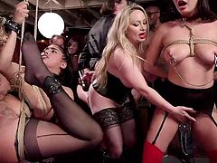Tonight's party is in full swing, and it's just as wild as always. The women are beautiful, naked, and tied up, ready to take torture, cocks, tongues, and anything else they're told to take. It's an honor to be up here, so if you get to go, enjoy it.