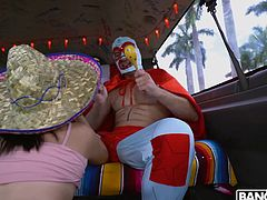 She loves men in costumes, so she is very turned on by this luchador. She is really in the spirit thanks to her sombrero. The hot babe is so impressed by his huge cock, so she tugs on it and sucks on it until he is ready to cum hard.