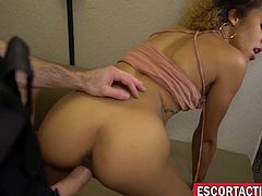 Young ebony escort lady throat fucked and roughly screwed