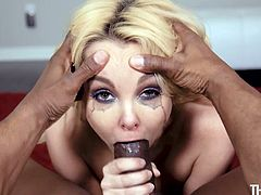 Beautiful and skinny blonde milf Aaliyah, likes only big cocks. That's why she only fucks black guys now. She is so skilled at deepthroating that she somehow manages to fit an entire big black cock in her mouth. Her make up is dripping down her face, as she gets covered in spunk.