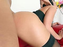 Coarse anal sex with a hawt brunette hair and her oiled up gazoo