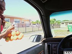 She was just selling oranges, so she was surprised to see a guy jacking off in his car. The stunning brown babe was so turned on, that she sucked him deep and jerked him off right there. Look at her slobber all over his white cock.
