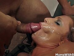 This curly blonde mom loves getting her clit finger played and moans in ecstasy. Shoving the big cock down her throat and gets her pussy fucked hard and deep. Ends up receiving a warm facial shower over her pretty face.