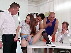 Hot blooded co-workers fuck nasty Russian chick Stacy Snake right in the office