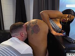 Tony Rubino just can not believe his ears, when this busty ebony babe with big bubble butt offers him her tight wet pussy... The black bombshell knows what she wants and now she needs Tony's big and meaty dick... Hot stuff!