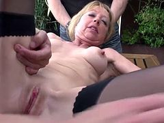 Unknown French granny anal outdoor