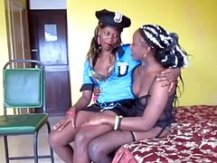 Real African lesbian teen gets her ass and pussy fingered by girlfriend in police uniform on hot amateur sex tape.
