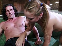 Pigtailed blondie Alyssa Branch enjoys having sex with elder fucker