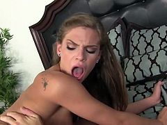 Naughty hottie Sydney Cole goes wild on a hard penis and gets doggy fucked