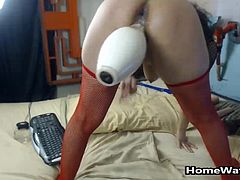 I don't know what to say… I watched it and couldnt belive what I was seeing, she started ramming her pussy with a toy and then not only did she took a giant dildo and fucked her pussy, she takes it in the ass as well. Baseball batt? It will fit as long as it has some lotion on it can go and will disappear inside her big ass. I bet she loves bowling up to the point that she had to fuck a ball pin, WOW