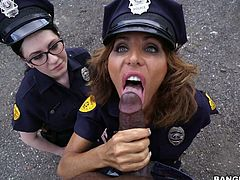 Arrested BBC is fucked by two nasty and whorish policewomen