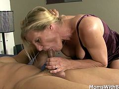 This is a video of Peaches, a sexy blonde mature who got cheated over and over by her husband. This is her revenge making a video of her fucking a young black dude. She is very happy and satisfied getting cum showered.