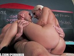 College burnout is seduced and fucked by his busty blonde tutor