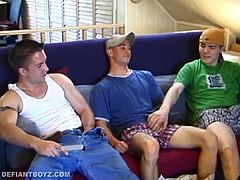 We find Tye and straight boy Collin perched on Tyes bed. Tye sees an opportunity to have some fun with his friend and goes for his cock, while the straight boy watches a porn video. With no resistance, Tye continues and soon has the boy naked and receiving a blow job. After making the boy cum, Collin lubes his sucker up and gives him a handjob. Then Tye finishes by stroking out his load.