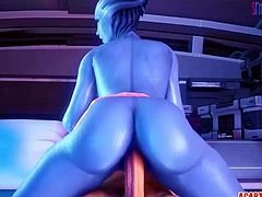 Sexy big ass and big tits Liara T'soni gets pussy fucked by long strong dicks and plays with cunts.