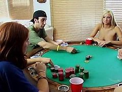 Poker party - he cums premature at the suck off contest