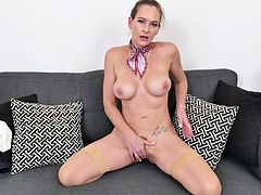 She looks super sexy wearing nothing but red high heels and a bandanna. The beauty spreads her legs wide and shows off her hot pussyhole. She loves it when guys watch her cum hard and orgasm. Her fingers slide all over her clit and labia.